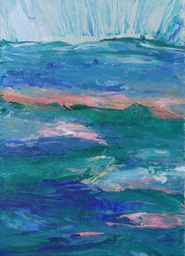 2-26-08 cricketdiane Baby Crickets Ocean Paintings pocketart - Sun Awakening - cdcp08 acrylic-mat -1