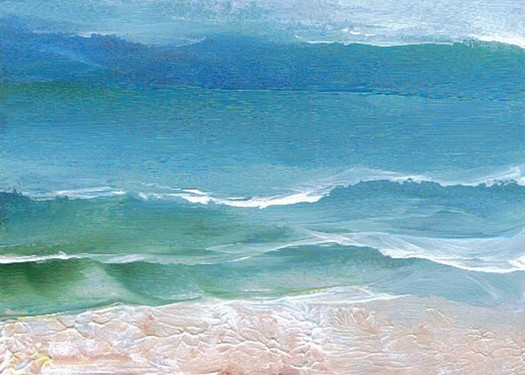 3-1-08 cricketdiane - gentle waves on the sand - cdcp08 acrylic ocean painting Baby Crickets pocket-art -2a
