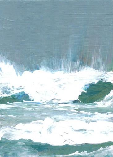 3-1-08 cricketdiane ocean painting - Spiritual Sea Dance - cdcp08 acrylic painting - Baby Crickets Ocean series pocket-art 2008