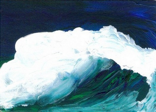 6-9-07 cricketdiane ocean painting Baby Crickets pocket-art - dream wave - cdcp07 acrylic-mat-2b