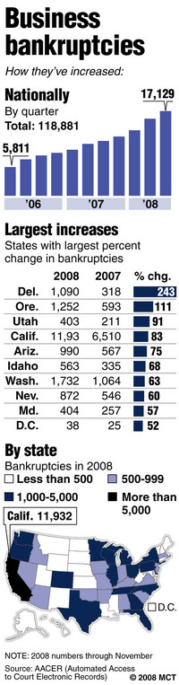 2007 - 2008 Business Bankruptcies Chart - (from AACER)