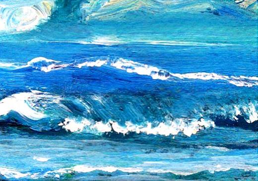 cricketdiane painting - Wave Dance - cdcp07 - Baby Cricket Ocean Painting pocket art