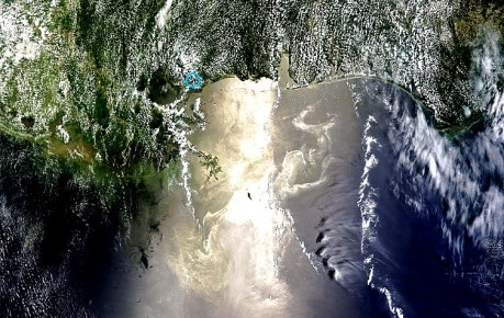 AERONET_Stennis.2010160.terra.1km - Gulf of Mexico oil spill real color contrast enhanced from satellite photo taken 06-09-10