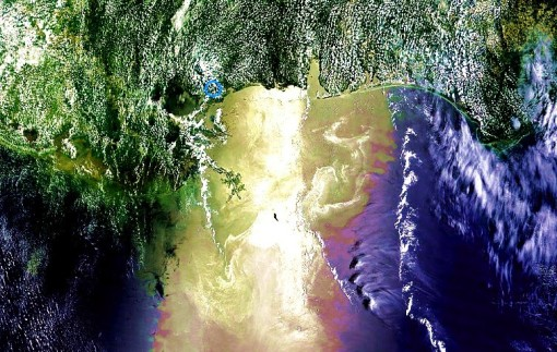 MODIS / NASA / AERONET_Stennis.2010160.terra.1km - Gulf of Mexico - cropped, saturation and contrast heightened - satellite photo from 06-09-10