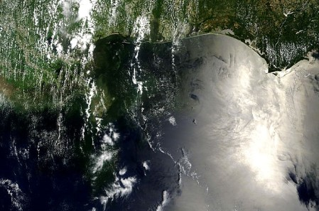 AERONET_Stennis.2010162.terra.1km - Gulf of Mexico oil spill satellite photo real color enhanced contrast and cropped - taken on 06-11-10 by NASA / MODIS