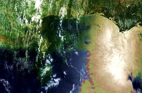 AERONET_Stennis.2010162.terra.1km - NASA/MODIS satellite photo of Gulf of Mexico oil spill taken on 06-11-10 with enhanced contrast and hue