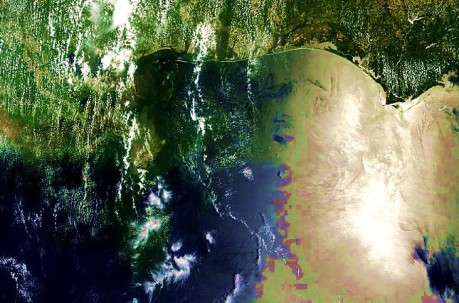AERONET_Stennis.2010162.terra.1km - NASA/MODIS satellite photo of Gulf of Mexico oil spill taken on 06-11-10 with enhanced contrast and hue