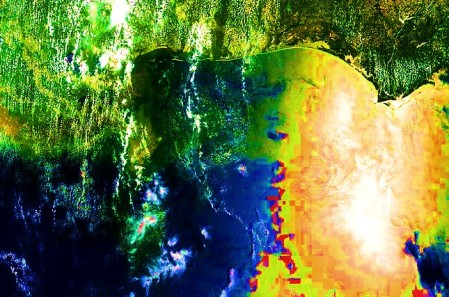 NASA / MODIS - AERONET_Stennis.2010162.terra.1km - Gulf of Mexico oil spill - satellite photo for 06-11-10 - cropped and color enhanced