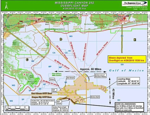 May 26, 2010 Overflight Map of the Oil Spill Gulf of Mexico from Reponse Group