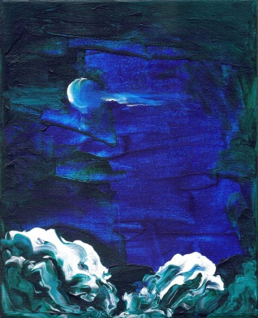 cricketdiane09 - Moonlight Sea - acrylic on stretched canvas - 8x10in - 2008