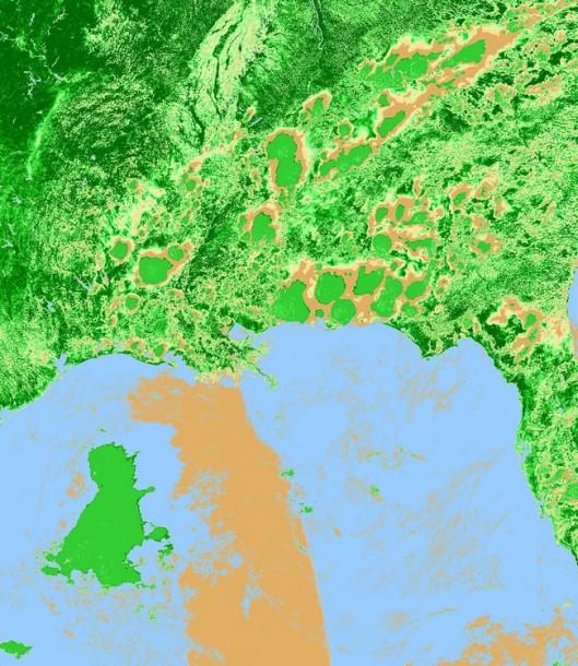 USA7.2010152.aqua.ndvi.1km-2 from June 1 - 2010 (NASA - MODIS) - Gulf of Mexico Oil Spill - Deepwater Horizon Incident 42 days later - June 1, 2010