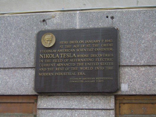 Exploring New York City with CricketDiane - 11-23-10 - Placque on the New Yorker honoring Nikola Tesla