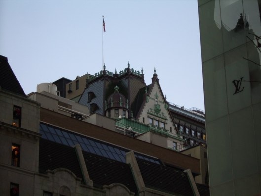French Chateau nestled into the top of New York's buildings with the skyscrapers hovering nearby - cricketdiane photo walking tour of New York City 2010