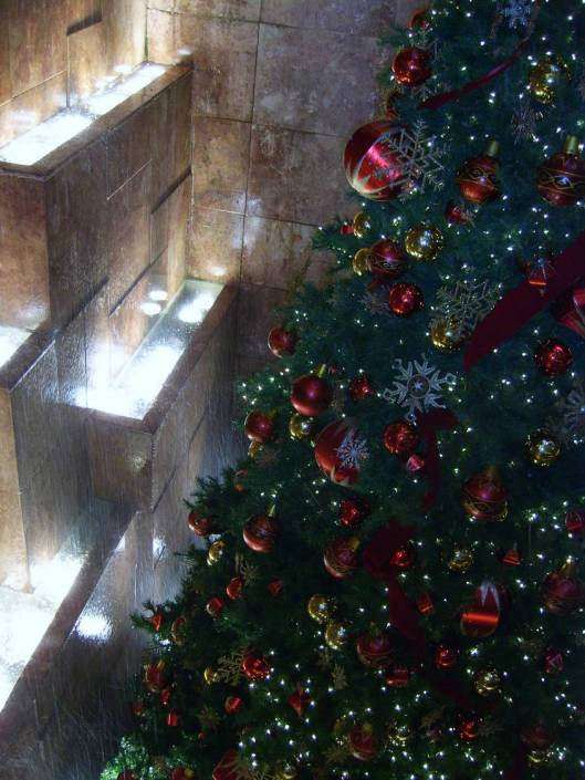 New York City Walkabout with CricketDiane 2010 - Donald Trump building includes marble waterfall, lights, Christmas tree and elegant decorations built into an old-fashioned modern high-tech Christmas sparkle all at the same time.