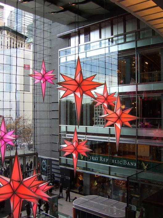 Cricketdiane walkabout New York City - Holiday Decorations at Time Warner float gracefully across the open space. photo by cricketdiane 2010