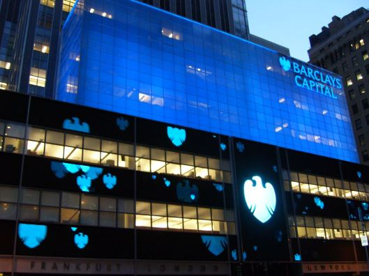 Dancing lights of Barclay's Eagle Shield move across the building surface in the recently changed dramatic and beautiful scenario - CricketDiane New York Photo Walking Tour 2010.