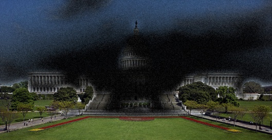 800px-United_States_Capitol_-_west_front-2 - photo from wikipedia of US Congress building - Morphed with adobe filter by cricketdiane 2011