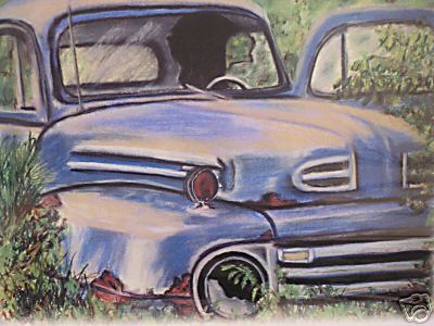 1-sold - 11 - ford truck - folk art - created by cricketdiane pastels 18 x 24