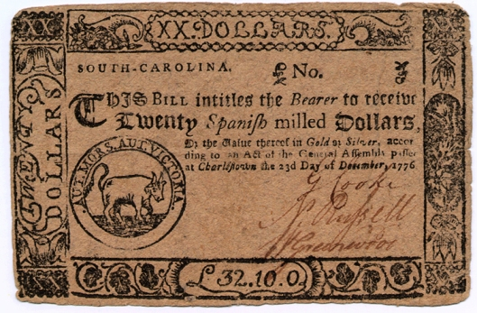 SC-12-23-76-$20.obv - Actual $20 note printed in 1777 with Jackson family motto in Latin on the back, Charles Town, USA