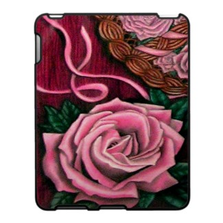 Cricket's Roses pastel drawing as iPad cover art - originally hand-rendered art