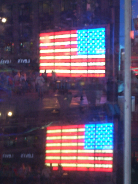 03-22-12 NYC Times Square Walkabout cricketdiane American flags reflection 373
