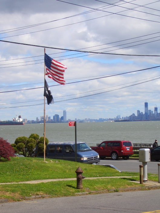 CIMG0304 American flag Staten Island near Alice Austen House and Manhattan across NY Waterway - cricketdiane 2012