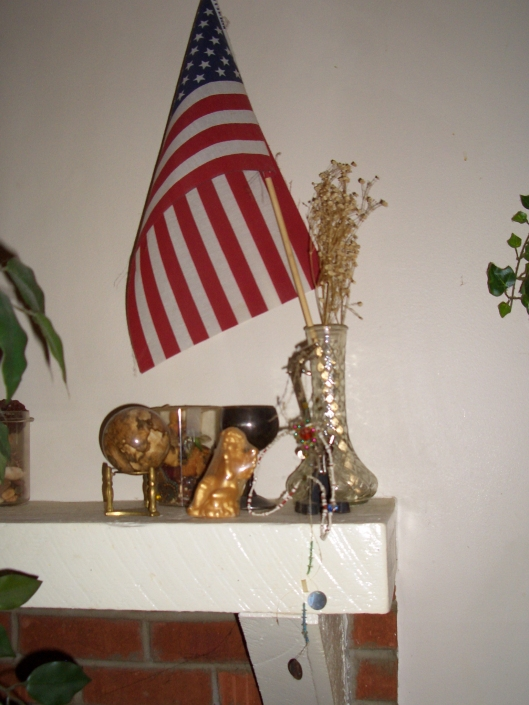 cricketdiane11 April 2011 131 American Flag on the Fireplace Mantle