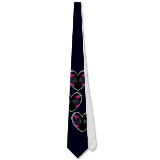 Unusual black valentines day hearts tie by cricketdiane