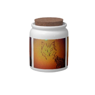 Cat abstract candy jar - cricketdiane art and design