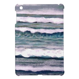 Cloudy Day ocean waves beach surf by cricketdiane on ipad mini case