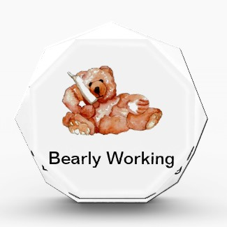 Bearly Working Award - Honey Bear Talking on the Phone - CricketDiane Art and Design