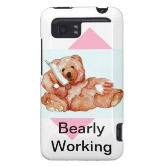 Bearly Working Honey Bear Talking on the Phone Teddy Bear Collectibles Cellphone Case by CricketDiane 2013