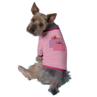 Honey Bear Talking on the Phone Doggy Tshirt Pink CricketDiane Art and Designs