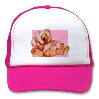 Honey Bear Ball Cap Truckers Hat for Girls and Teddy Bear Lovers - in Pink - by CricketDiane