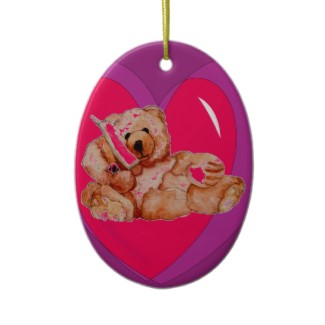 Honey Bear Teddy Bear Heart Ornament Customizable on Back for Name and Year by CricketDiane 2013