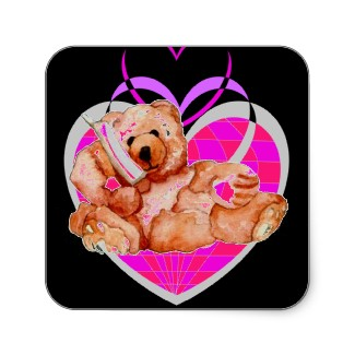 Honey Bear and Hearts Valentines Day Stickers Designed by CricketDiane