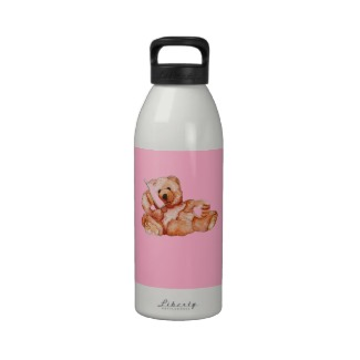 Honey Bear Talking on the Phone Pink and White Water Bottle CricketDiane Designs
