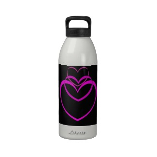 Purple Hearts Unusual Valentines Designer Refillable Water Bottle - CricketDiane Designs