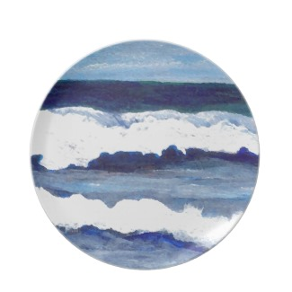 Rhapsody in Blue Dinner Plate and Kitchen Ocean themed GiftWare by CricketDiane