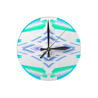 Turquoise Diamond Geometric Abstract Art Clock designed by cricketdiane