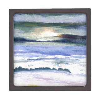 Twilight Ocean Waves Beach Sunset Reflections Trinket Box by CricketDiane on Zazzle