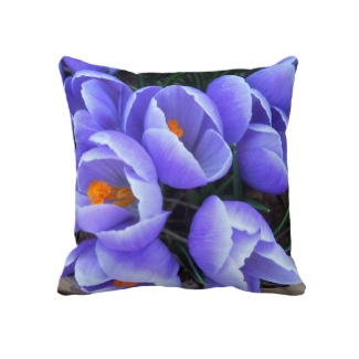 Purple Spring Crocus Pillow by CricketDiane
