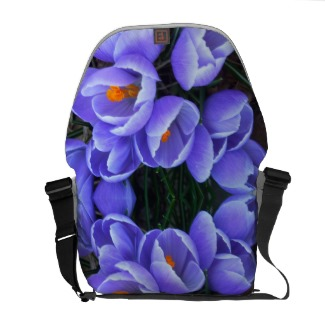 Purple Spring Crocus Flowers Messenger Bag by CricketDiane