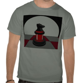 Chess Red Knight Chessboard Red Grey Tshirt by CricketDiane