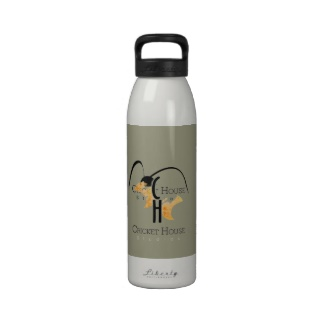 French Grey - Army Green Re-Usable Water Bottle with Cricket House Studios Logo