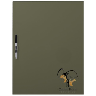 French Grey Army Green Dry Erase Board with the Cricket House Studios Logo