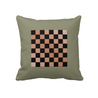 Army Green French Grey 6a Chessboard Pillow for Playing Chess and Decor Accent by CricketDiane 2013