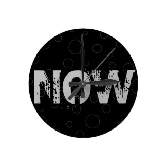 Now Black Bubble Hipster Clock Urban Modern Round Wall Clock by CricketDiane 2013