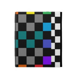 Black and White Checkerboard Colors iPad Folio Case by CricketDiane 2013
