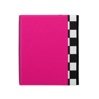 Black and White Checkerboard Hot Pink iPad Folio Case by CricketDiane 2013